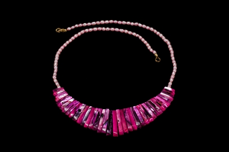 mother of pearl: Magenta mother pearl sticks necklace on black
