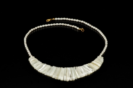 mother of pearl: White mother pearl sticks necklace on black