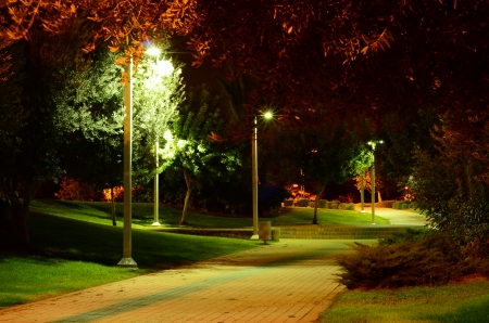 Park walkway at night time photo
