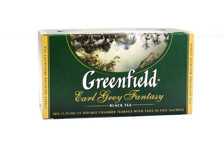 greenfield: Greenfield Earl Grey Fantasy Black Tea on white background Editorial