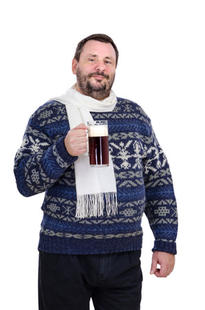 stout: Bearded man in a white scarf is holding stout pint