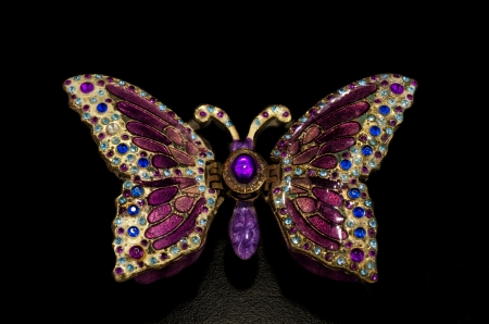 Stash box as butterfly on black backgroud Imagens