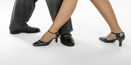 footgear: Pair feet in crocodile skin footgear show dance position