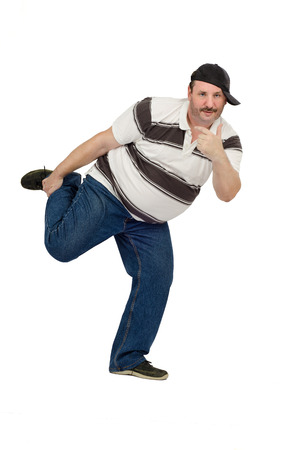Funny dancing mature rapper Stock Photo