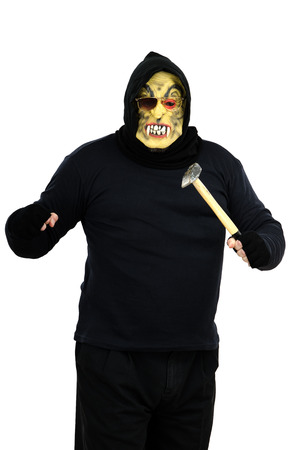 consternation: Maniac in a mask threatens with a hammer