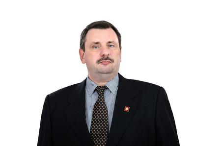 russian man: Communist with Lenin badge
