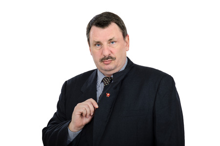 ideograph: Man pinned a red badge on back side of lapel