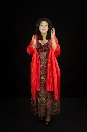 conversational: Dramatic actress performs on stage