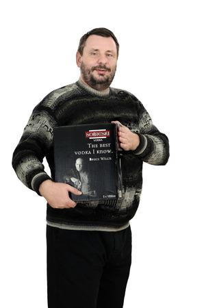 sobieski: Bearded man has bought a box of vodka Sobieski