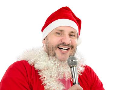 bard: Happy man in Santa Suit Costume singing in microphone