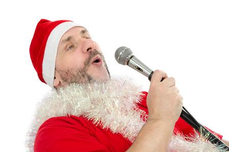 Happy Santa sings jingle bells Stock Photo - 24480803