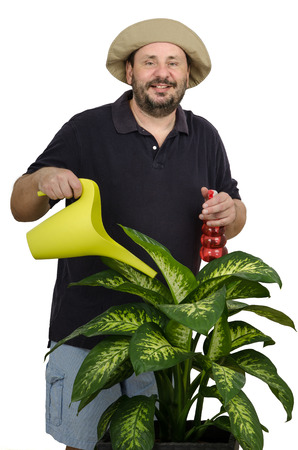 Bearded mature man likes to care flowers Stock Photo - 24730944