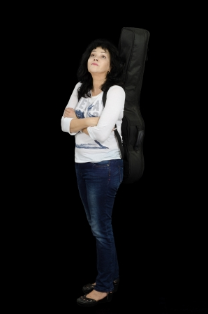 Romantic middle-aged woman singer with guitar Stock Photo - 24731200