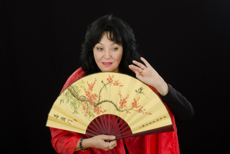 Mature white actress plays the geisha role photo