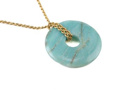amazonite: Amazonite polished donut with golden chain