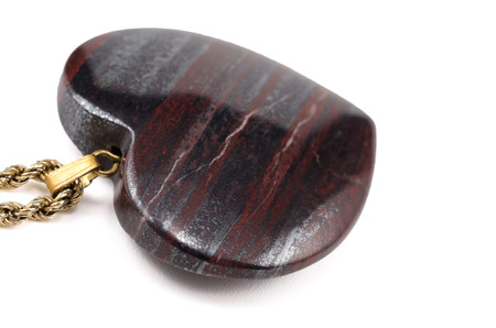 chatoyant: Tiger iron eye stone heart with golden chain