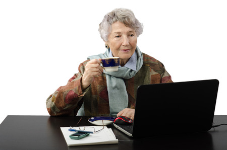 grey haired: Grey haired smiling old woman stares at the laptop screen and drinking coffee Stock Photo