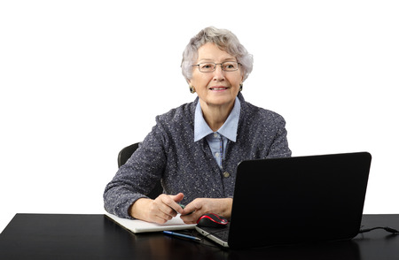 grey haired: Modern grey haired old lady talking in online lesson