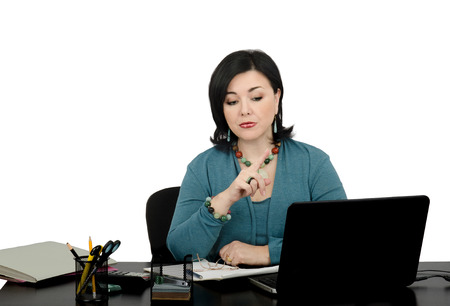 Portrait of mature attractive woman working an online financial advisor  She teach how to manage money in online consultation  Stock Photo