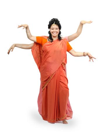 nataraja: Caucasian mature woman dancing four-armed dance on white background