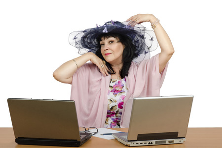 Marriage broker enjoy working online with her personal clients. Agent sitting on white background