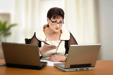 Woman giving individualized tutoring of math online