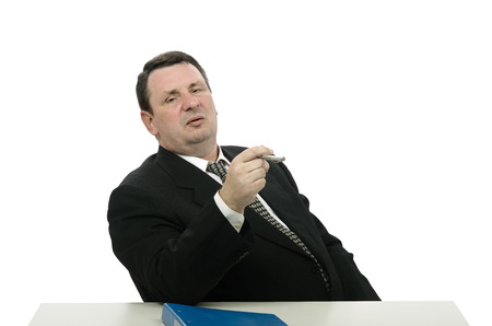 Middle-aged man portraying aggressive arrogant interviewer