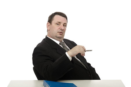 adversarial: Imposing middle-aged interviewer looking at camera on white background