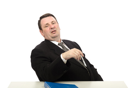 Portrait of middle-aged stress interviewer on white background