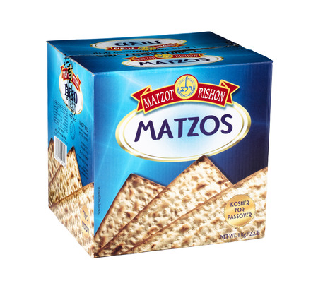 matzot: Cardboard box of Matzot Rishon Matzos. Kosher for Passover. Challa is taken. Backed and packed by Em Hachita Ltd, Jerusalem, Israel