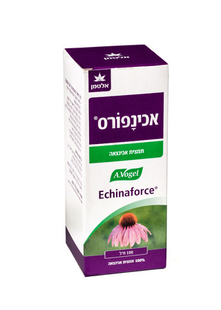 colds: Carton box of Echinaforce 100ml bottle. Echinacea drops (tincture) - herbal remedy for colds and flu. This is the original extract formulated by Alfred Vogel. Produced in Switzerland. Imported to Israel Editorial