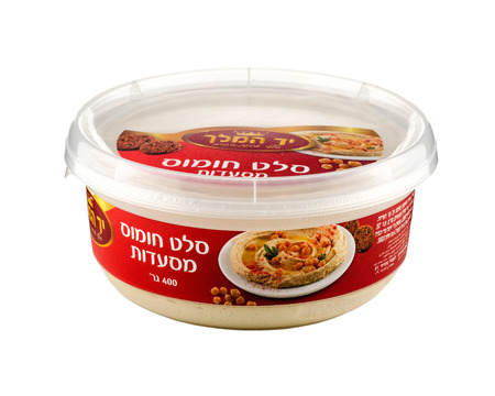 Plastic jar of Restaurants Hummus Salad. Weight: 400 grams. Produced by the factory \\\