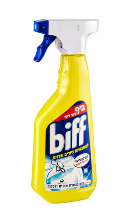 Plastic bottle of Biff Spray Bathroom Cleaner Liquid 500ml. Clean all bathroom without much effort. Produced by Henkel, Germany Editorial