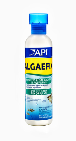 freshwater aquarium plants: Plastic bottle of Algaefix 237ml. Controls the main and most persistent types of algae in freshwater aquariums. Manufactured by API, USA.
