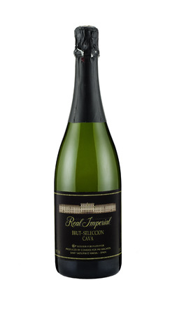 cava: Rishon Le Zion, Israel-December 4, 2014: Bottle of Sparkling white wine Real Imperial Brut-Seleccion Cava alc.12%, 750 ml. Kosher for Passover. Produced by Convides, Spain Editorial
