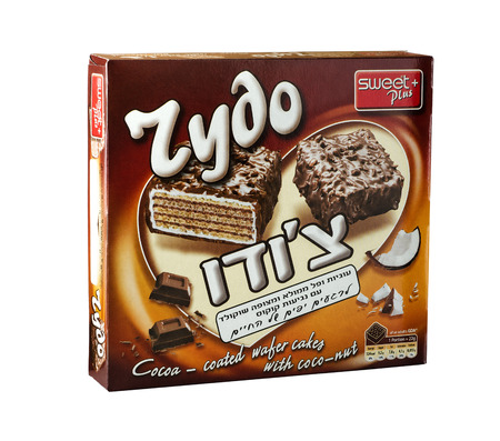 grams: Pack of Cocoa coated wafer cakes with coconut  ?Choudo? 200 grams. Produced by Zaharni Izdelia Ltd, Bulgaria Editorial