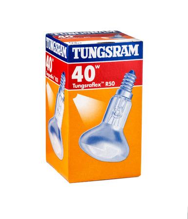 watt: Carton pack of Tungsram Bulb 40 watt E14 230v. Made in Hungary Editorial