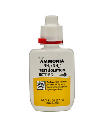 Plastic bottle of Ammonia NH3NH4 Test Solution Bottle 1 37ml. Produced by Aquarium Pharmaceuticals Inc. (API), USA