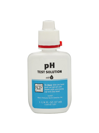 ph: White plastic bottle of pH Test Solution 37 ml. Produced by Mars Fishcare North America Inc.