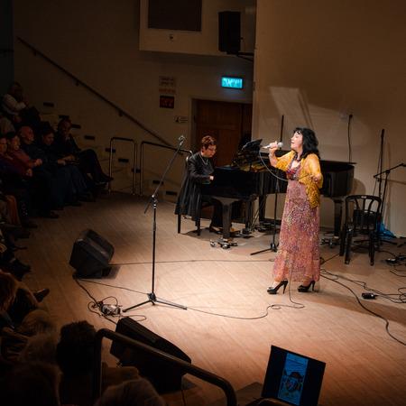 yiddish: Rishon Le Zion, Israel-December 18, 2013: Israeli Yiddish singer Alexandra Gorelik  performs at Yiddish Fest in Yad Lebanim hall
