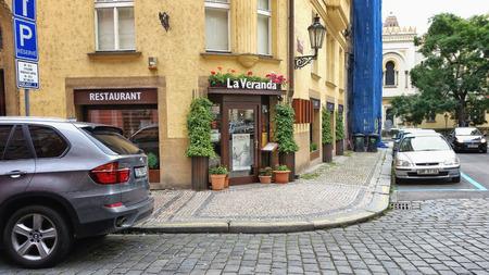 jewish quarter: Prague, Czech Republic - September 26, 2014: View on entrance of La Veranda restaurant in the Jewish quarter