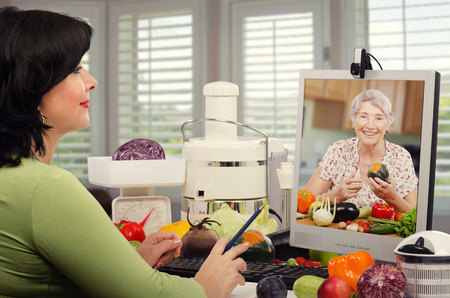 Self-employed dietitian is providing preventative health plans for senior client by internet