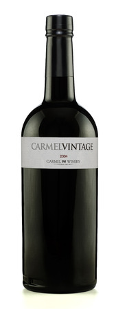 Rishon Le Zion, Israel - August 28, 2015: One bottle of Carmel Vintage wine 2004 alc.18, 750ml. Produced in Israel by Carmel winery Stock Photo - 47026300