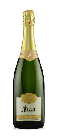 Rishon Le Zion, Israel - August 28, 2015: One bottle of Ferret Cava semi-dry sparkling white wine alc.11.5, 1L. Produced in Spain by Cavas Ferret, Catalonia Stock Photo - 47026301