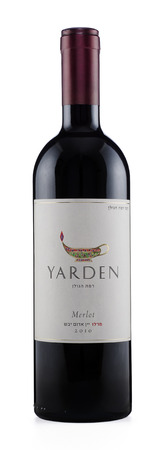 Rishon Le Zion, Israel - August 27, 2015: One bottle of dry red wine Yarden Merlot 2010 alc.14.5, 750 ml. Produced in Israel by Golan Heights Winery Stock Photo - 47026305