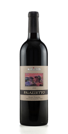 Rishon Le Zion, Israel - August 27, 2015: One bottle of dry red wine Palazzetto Rosso Toscana 2013 alc.14, 750 ml. Produced in Italy by Azienda Agricola Tua Rita Stock Photo - 47026309