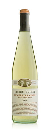 Rishon Le Zion, Israel - August 30, 2015: One bottle of semi-dry white wine Tishbi Estate Gewurztraminer 2014 alc.13, 750 ml. Produced in Israel Stock Photo - 47026311