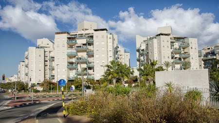 Rishon LeZion, Israel - January 16, 2016: View on the 8-story modern residential buildings in Kiryat Kramim neighbourhood