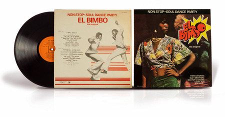 bimbo: Rishon Le Zion, Israel - July 3, 2016: Old vinyl disc Non Stop Soul Dance Party El Bimbo the original. Record compilation soul funk disco songs of the 70s. Editorial