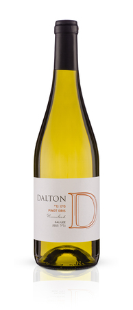 pinot: Rishon LeZion, Israel-September 6, 2016: Bottle of white dry wine Dalton Pinot Gris 2015 alc.13.5%, 750 ml. Produced in Israel